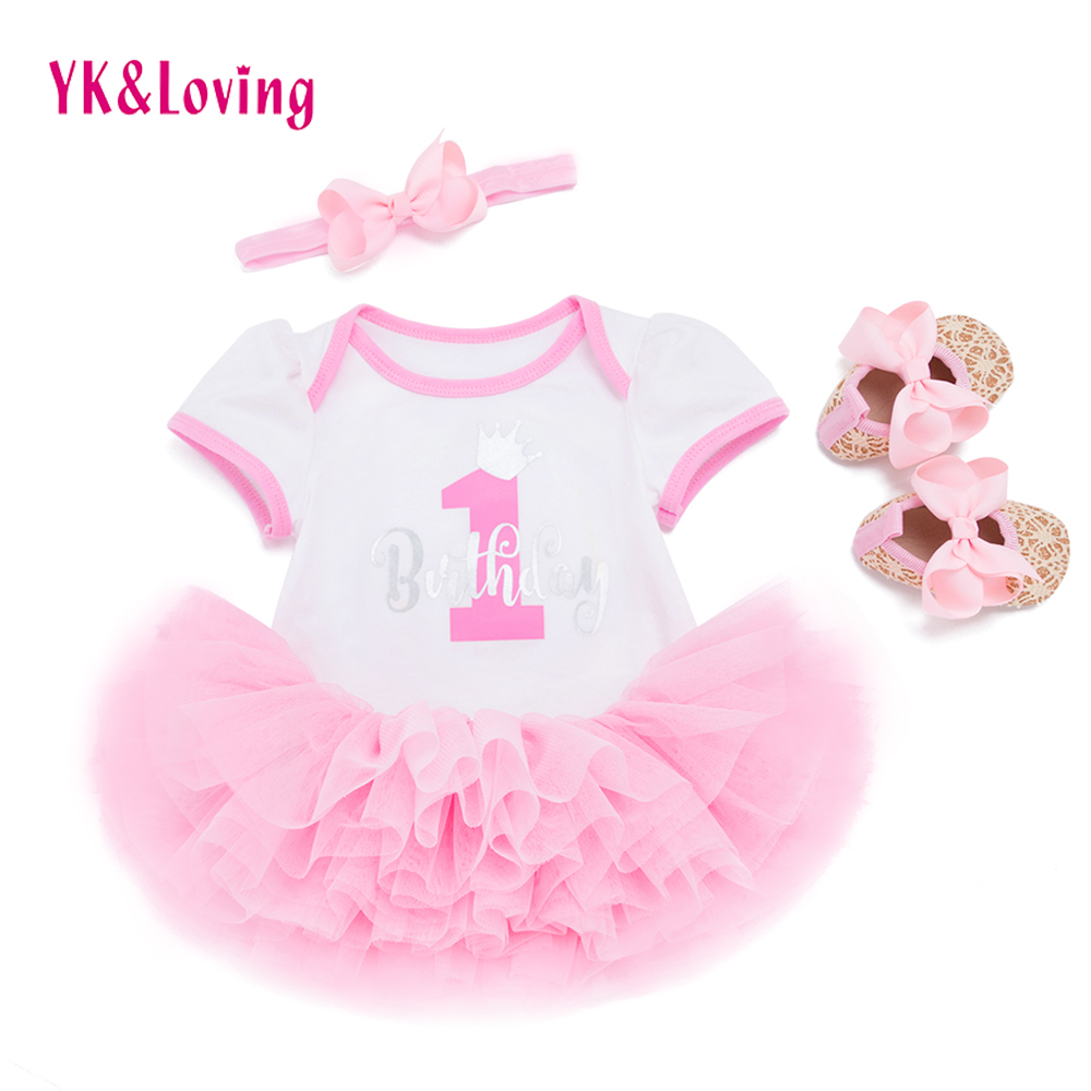 Baby Birthday Dress 1 year Girls Princess Clothing Sets Cotton Short Sleeve Romper Tutu Dresses Newborn Ballet Party Clothes 2018 baby infant newborn girl winter princess dress headband outwear 3pcs set new born 1 2 year birthday party tutu dress