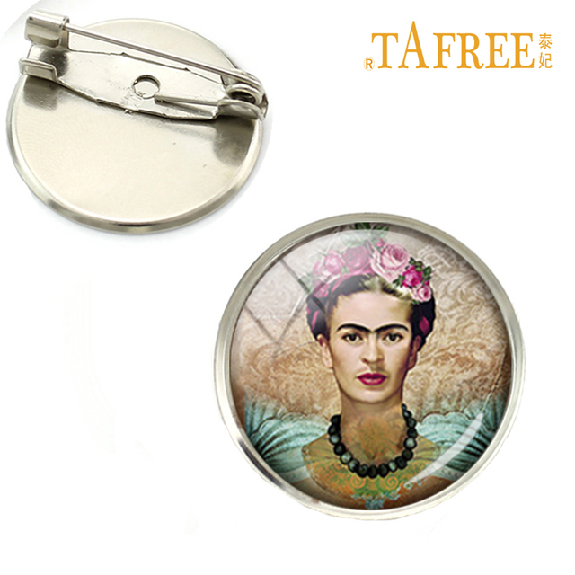 TAFREE Wholesale Cheap good quality brooch pins Frida Kahlo painting brooches charm feminist jewelry silver plated gift NS122