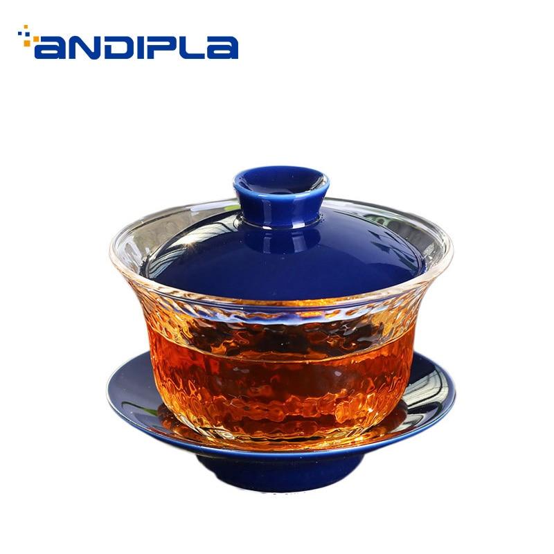 200 Ml Brief Transparent Heat resistant Glass Gaiwan Ceramic Teaware Office Kung Fu Tea Set Pu Erh Gaiwan Master Teapot Gifts