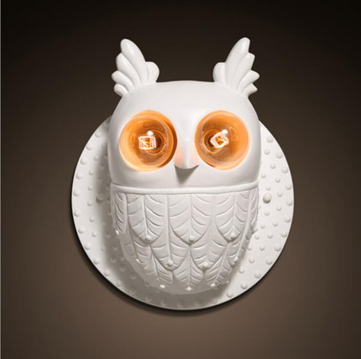Owl white playfulness resin wall lamp aisle staircase balcony restaurant lights.E27*2 ...