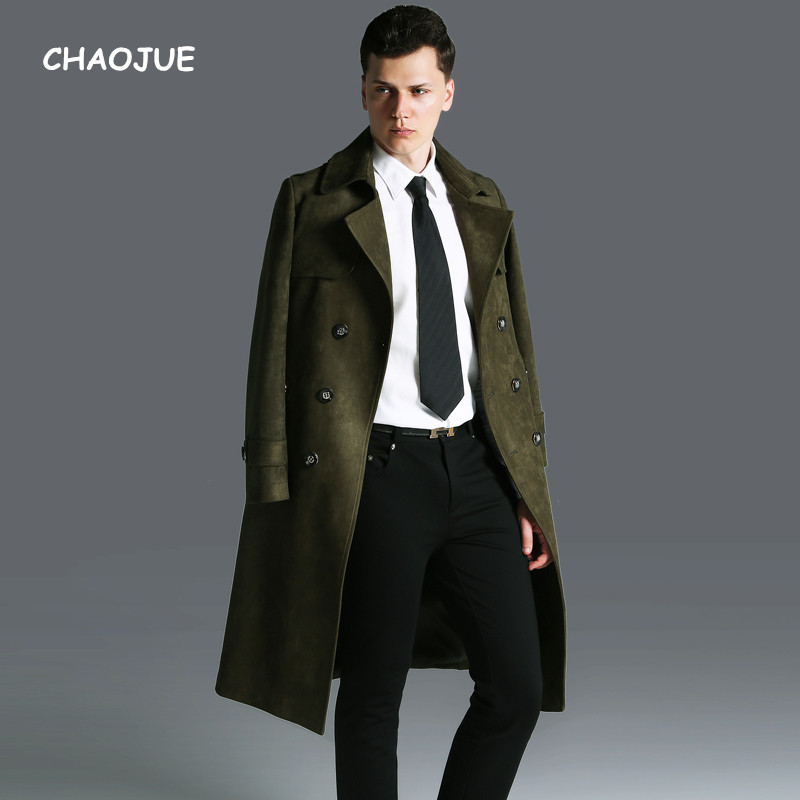 CHAOJUE Fall/Winter Long Suede   Trench   for man England Slim Fit Plus size 6XL Coat Fashion Army Green Overcoat Free Shipping