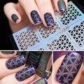 Nova Moda 1 Folha de DIY Fácil Utilização Irregular Oco Stencil Manicure Da Arte Do Prego Adesivos Selo