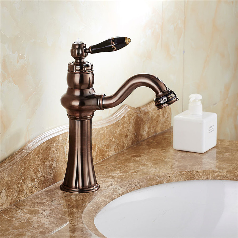 Basin faucet, Copper Hot and Cold Basin Faucet ORB Bauble Faucet Single Hole Rose Gold Washbasin deck mounted Bathroom Faucet lteng basin faucet full copper black faucet hot and cold washbasin single hole under counter bathroom vanity water tap