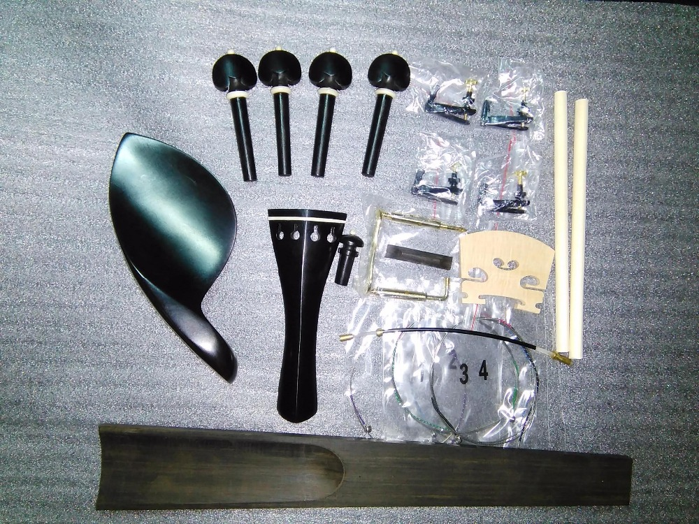 Honest 1 Set Black Ebony Violin Parts 4/4 With Fingerboard String+sound Post+bridge+saddle Etc In 4/4 Sf01 Fine Craftsmanship Violin Parts & Accessories