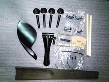 1 Set Black Ebony Violin Parts 4/4 with Fingerboard string+sound post+bridge+saddle etc in 4/4 SF01