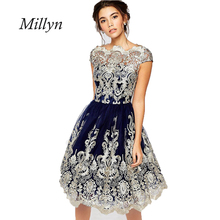 2017 women Europe new summer dress embroidered retro Princess Dress  Women Party vestidos Plus size clothing
