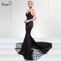 DressV Black Mermaid Long Evening Dress Sweetheart Beading Sleeveless Court Train Party Dress Lace Trumpet Formal