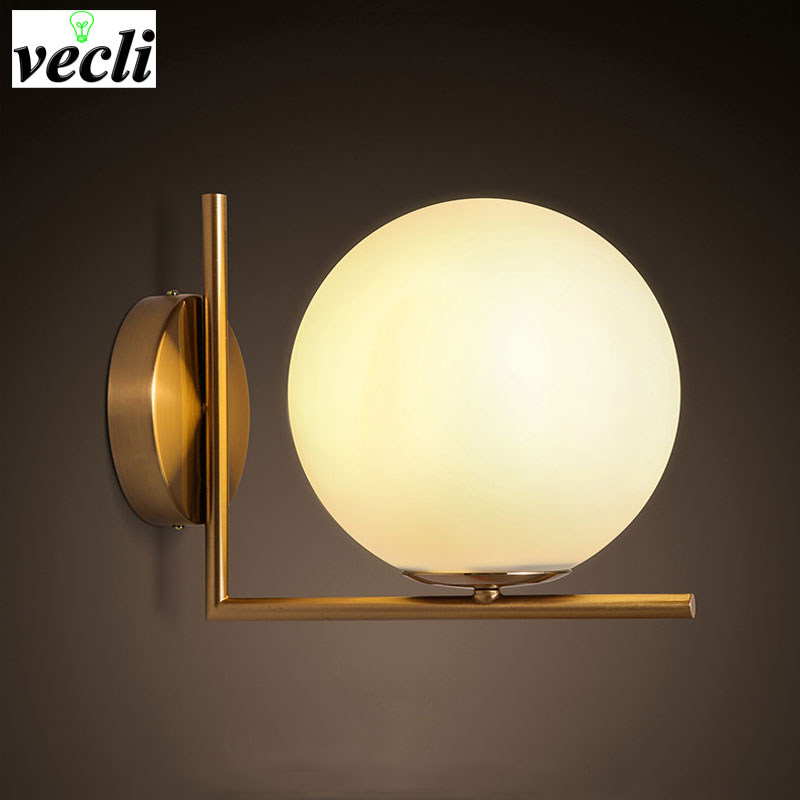 Moden Led Wall Light Sconce For Living Room Bedroom Wall Light Iron Body Glass Lampshade Bathroom Light Retro Lamp Home Lighting