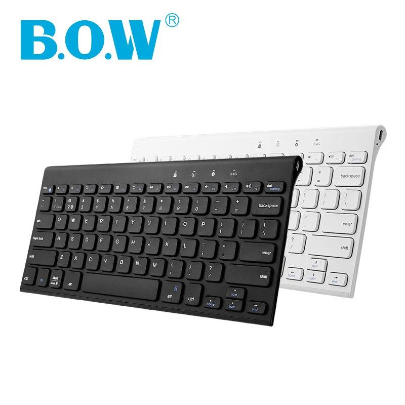[Nouveau] B.O.W 87 touches Ultra Slim 2.4 Ghz & 4.0 bluetooth sans fil clavier et souris en métal Combo pour ordinateur portable PC, téléphone portable