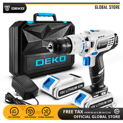 DEKO GCD18DU3 18V Impact Electric Screwdriver Lithium-Ion Battery Cordless Drill Variable Speed Mini Power Driver with LED Light