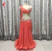 New India belly dance clothes luxury hand made bra top+chiffon skirt 2pcs belly dance set gilrs dance clothing B/Ccup