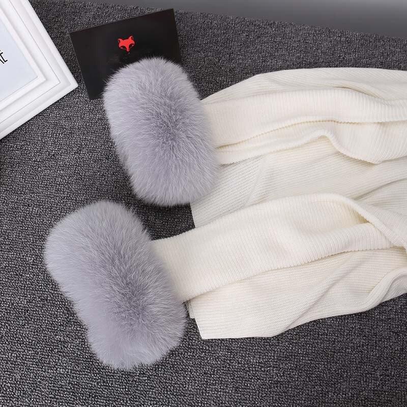 Image 4 - Ms. minshu real raposa pele punhos das mulheres 100% natural de pele de raposa mangas para mulheres casaco mais quente manga jaqueta de pele punhos de pele fofo-in Cachecóis femininos from Acessórios da Moda on AliExpress