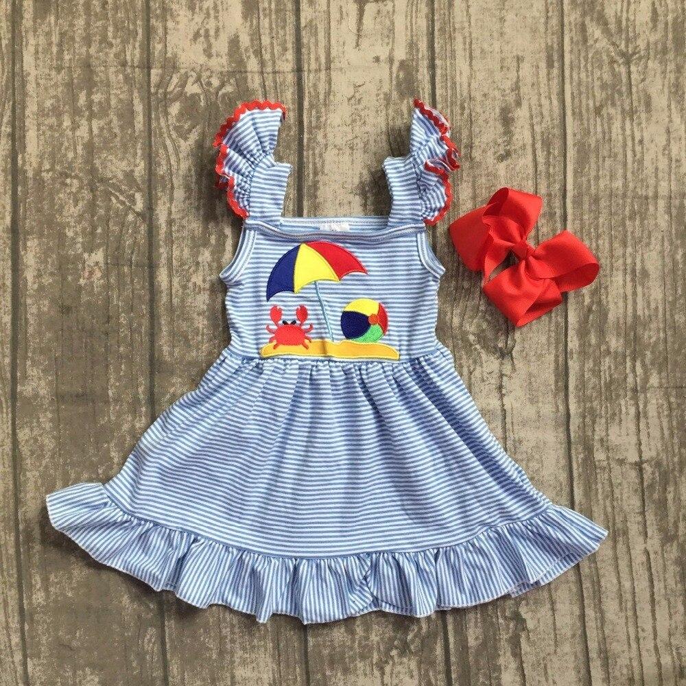 baby girls summer dress clothing girls crab with camper dress girls blue stripes dress girls beach camper dress with bows 2018 girls dress 100