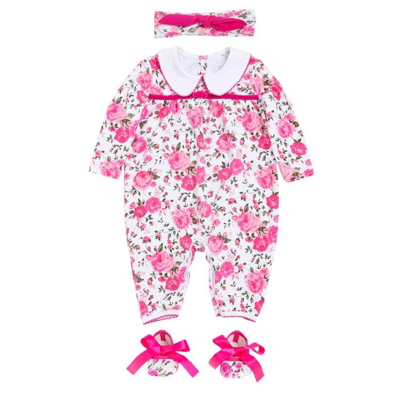 3pcs Baby Girl Infant Newborn Floral Romper Headband Bodysuit Shoes Clothes Sets