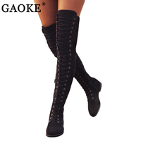 GAOKE Sexy Lace Up Over Knee Boots Women Boots Ladies Shoes Woman Square Heel Flock Snow