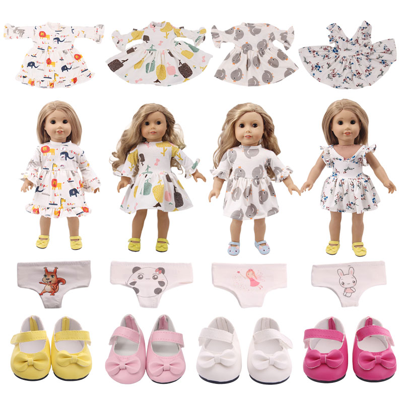 Doll Clothes Cartoon Floral Small Fresh Cotton Dress For 18 Inch American&43Cm Baby New Born Doll Shoes Accessories Girl`s  Toy