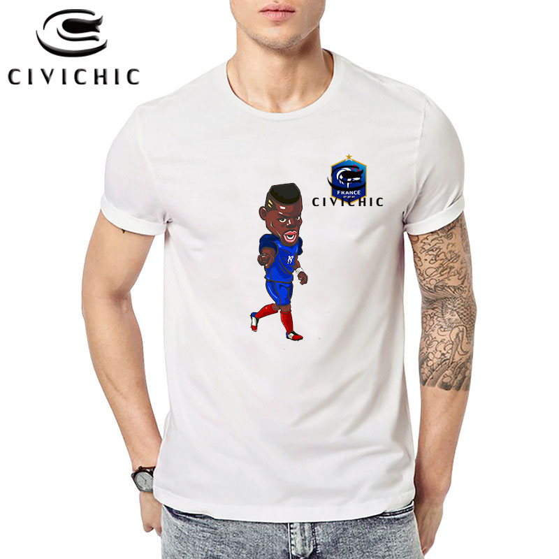 US $15.74 25% OFF|Chic Men Tops Tees Maillot Equipe De France 2020 Foot Ball T Shirt Cute Paul Pogba Print T shirt Homme Loose French Jersey MST14 in