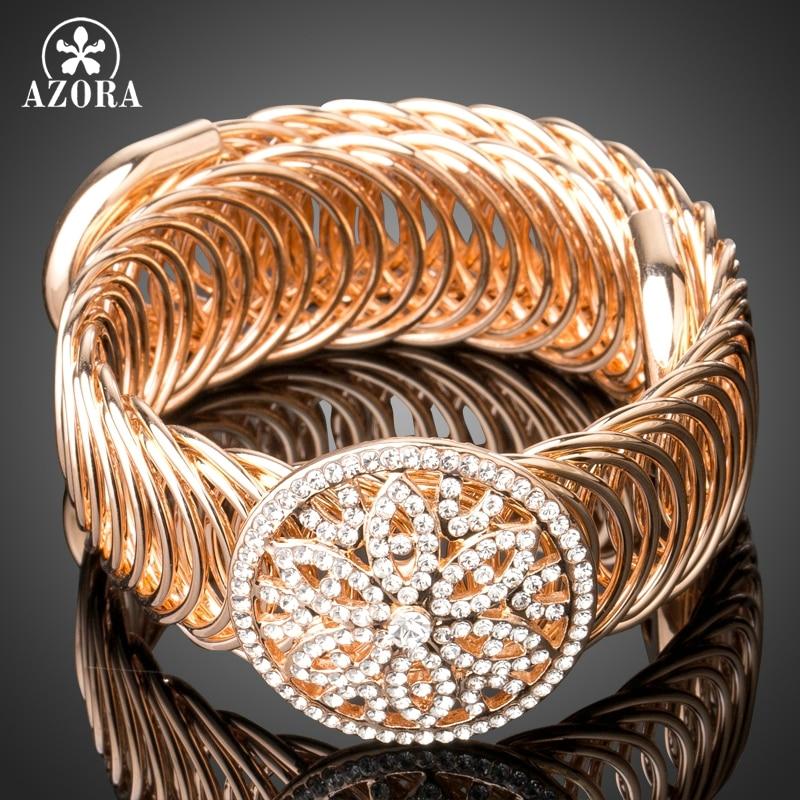 AZORA Or Couleur Stellux Autriche Cristaux Métal Creux Cercle Chanvre Fleurs De Mode Twist Ouvert Bracelet Bracelets pour Femmes TB0083