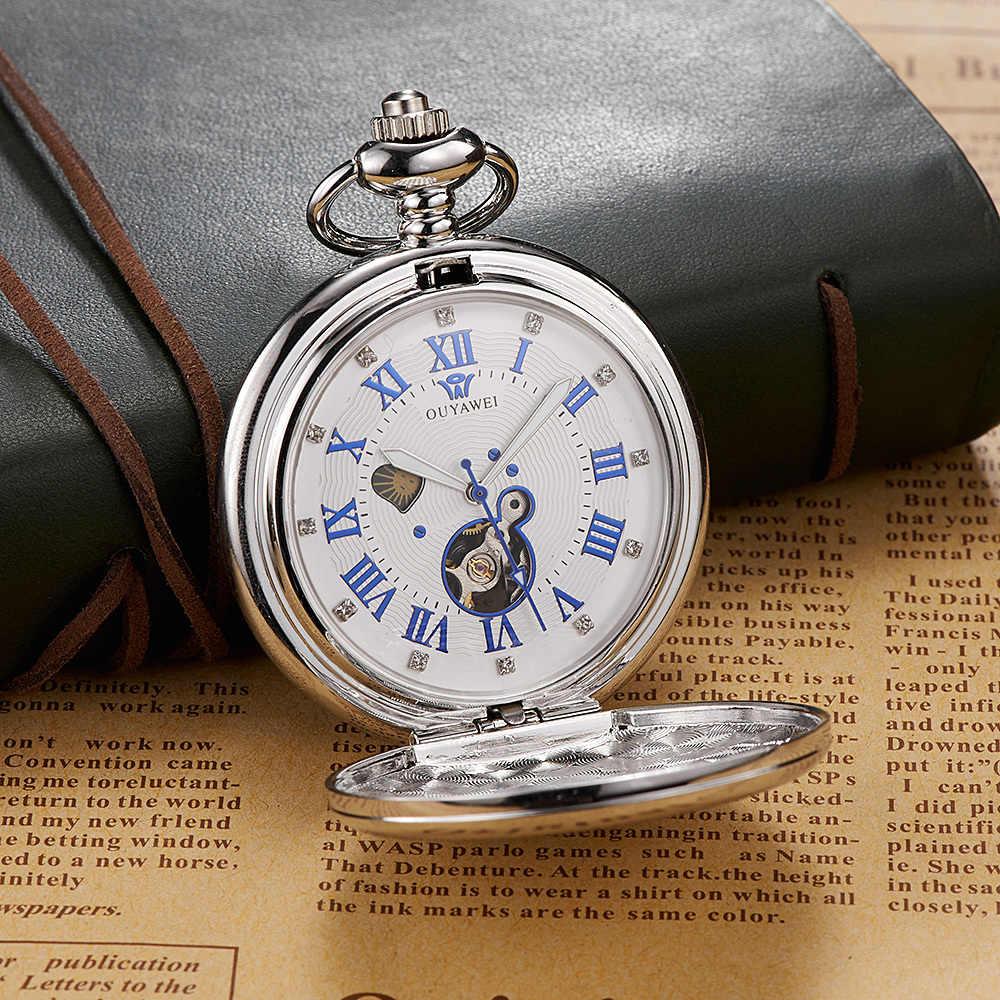 יוקרה מותג OUYAWEI מכאני כיס שעון גברים מלא פלדת מקרה כיס Fob שעון אנלוגי כסף לבן חיוג בציר זכר שעון