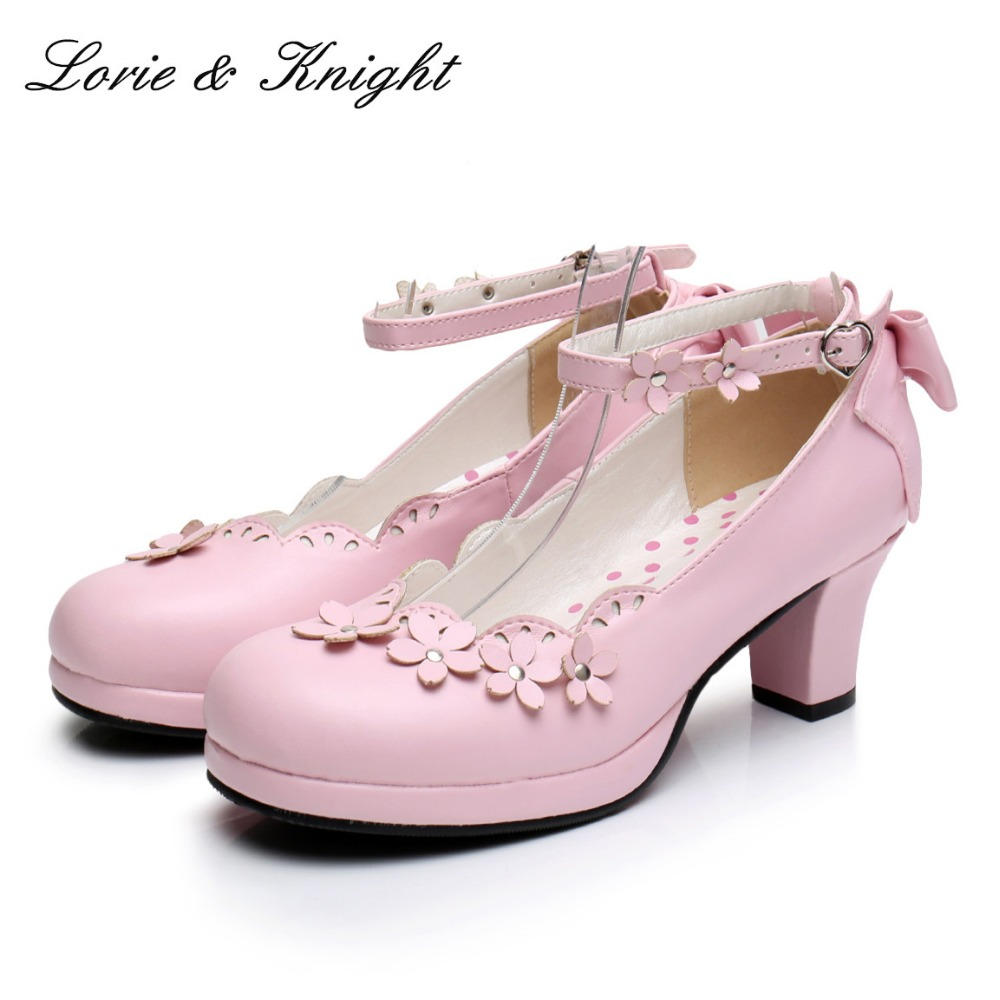 Japanese Princess Girl Floral Ankle Strap Bowtie Back Sweet Lolita Cosplay Chunky High Heel Shoes 2018 spring sweet bow elegant lolita cosplay shoes chunky high heel pumps princess party shoes
