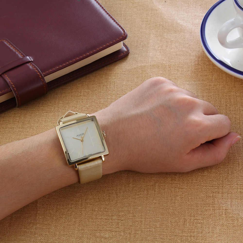 Relojes de mujer marca Julius Square Quartz relojes de mujer lujo vestido de cuero genuino resistente al agua reloj de pulsera Feminino Montre JA-354