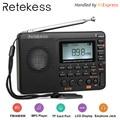 RETEKESS V115 Radio Ontvanger FM AM SW Draagbare Radio Pocket Met USB MP3 Digitale Recorder Ondersteuning Micro SD TF Card sleep Timer