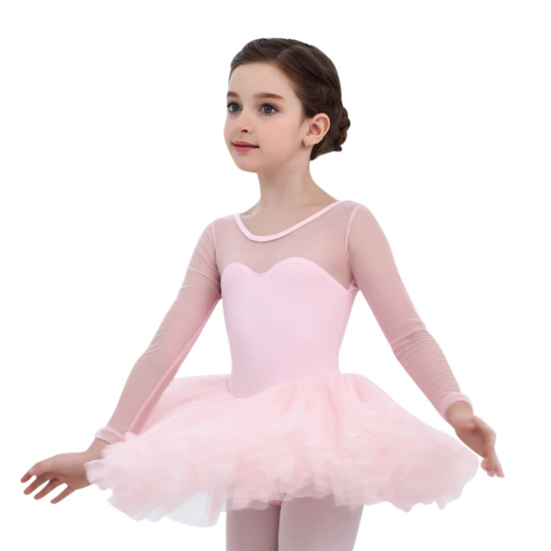 4-15Y Children Girls Cute  Mesh Long Sleeve Ballet Tutu Gymnastics Leotard Skirt Tutu Dance Dress