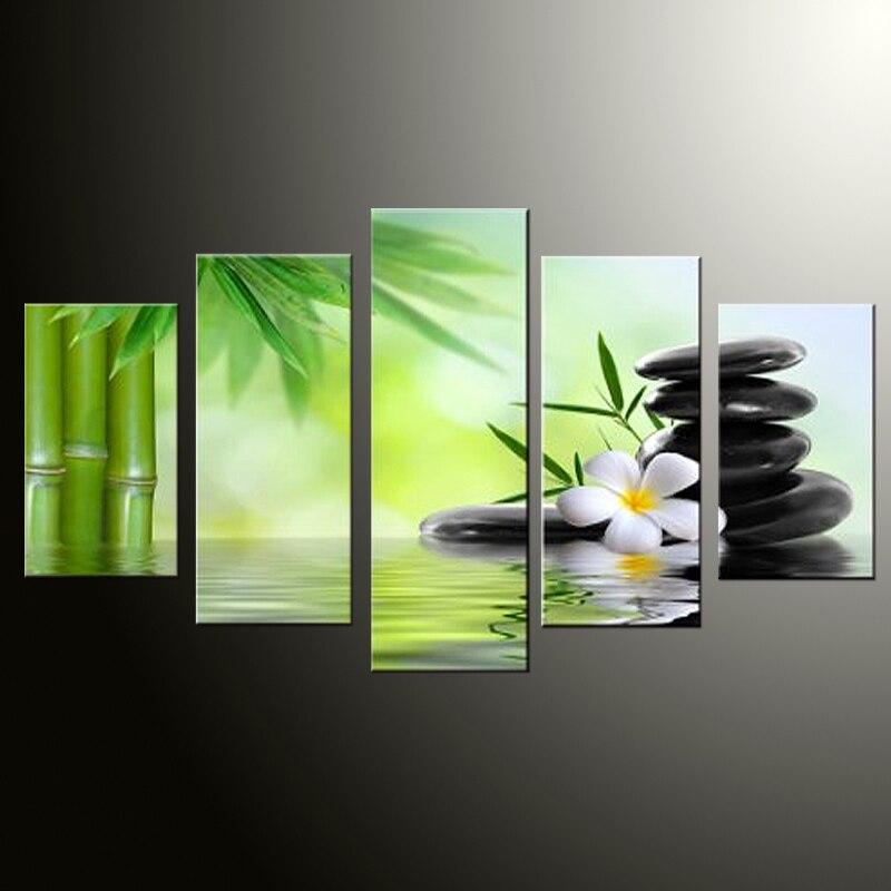 5 panelů Velký plakát HD Malované bambusové a kamenné - Dekorace interiéru