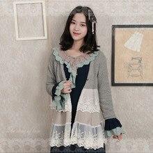 Япония Мори девушка Harajuku кружева лоскутное кардиган для женщин свитер куртка Осень Зима Леди Sueter Mujer Invierno Трикотаж Кардиган
