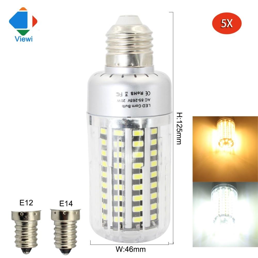 5x lampade led bulb light e12 e14 e27 110v 220v 20w high for Lampade led 220v