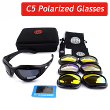Hot Sale C5 Outdoor Polarized Sport Goggles Military Tactical Airsoft Shooting Sunglasses Cycling Fishing Glasses 4 Lens