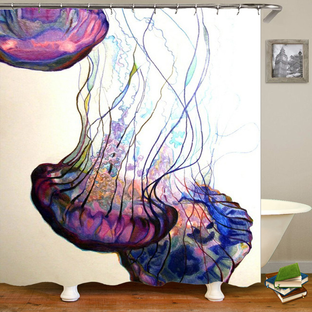 180cm180cm Svetanya Comic Shower Curtain Polyester Material High Quality Waterproof Jellyfish Octopus Bathroom