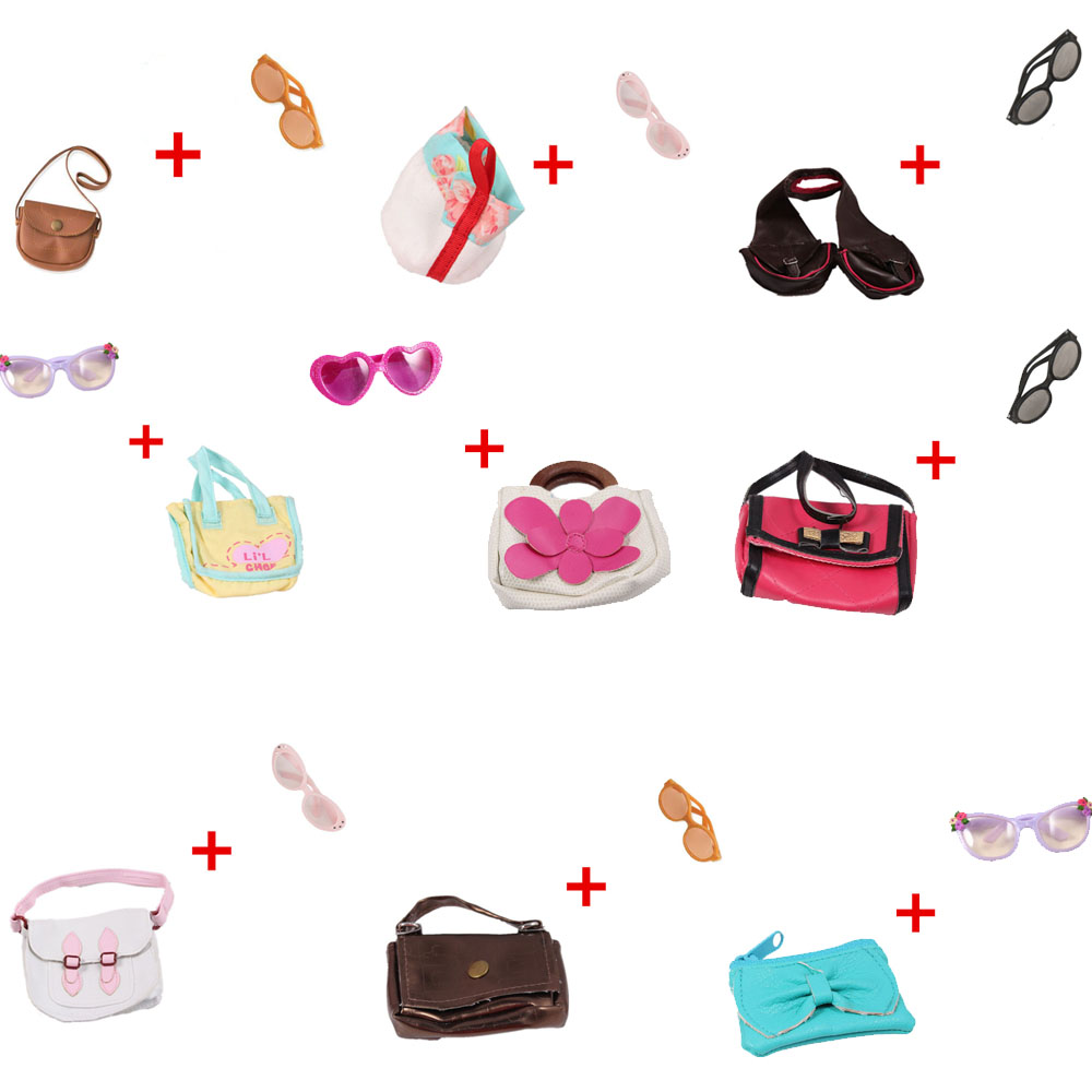 American Girl Doll Accessories Doll Bags + Round Glasses Our Generation Doll Bags For 18 Inch American Girl Doll american girl doll clothes 4 styles elsa blue lace princess dress doll clothes for 16 18 inch dolls baby doll accessories x 2