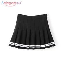 Aelegantmis Sweet Pleated Skirt Women Preppy Style Mini High Waist Skirt Girls Vintage Black White Cute School Uniforms Skirts