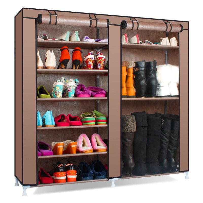 Mobilya'ten Ayakkabı Dolapları'de Düz renk çift sıralı yüksek kaliteli ayakkabılar dolabı ayakkabı rafı büyük kapasiteli ayakkabı depolama organizatör rafları DIY ev mobilya title=