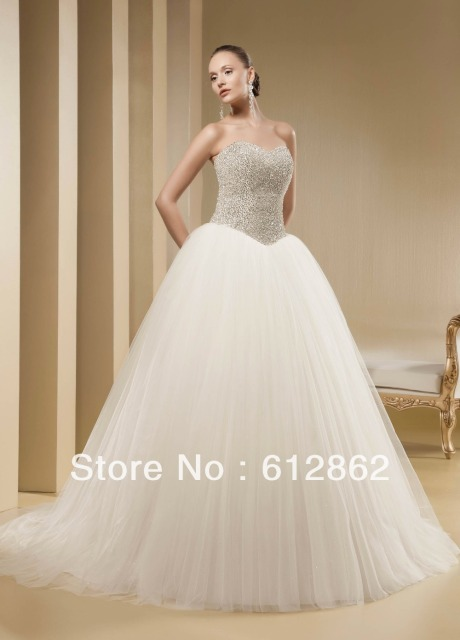 473fcba4d09d Strapless Sweetheart Crystals Beaded Bodice Tulle Skirt Bling Wedding  Dresses Ball Gown