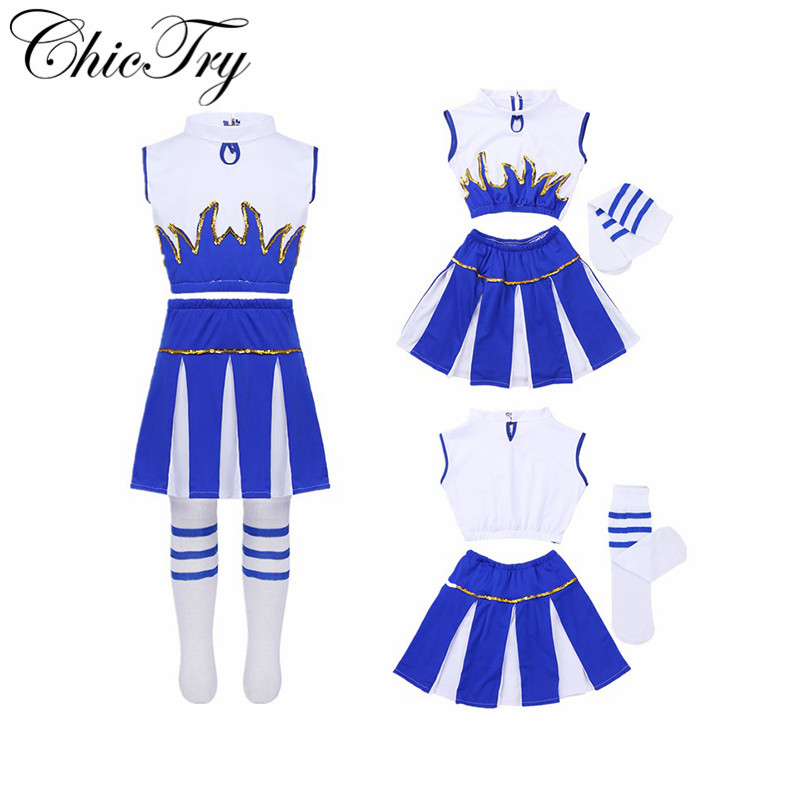 Girls Children Kids Halloween Costumes Outfits Kids Party Carnival Fancy Crop Top with Skirt and Socks Dancewear Set Clothes