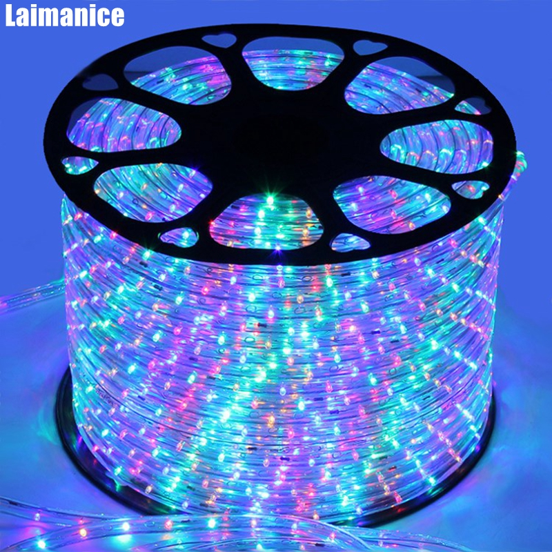 DHL 90M Roll AC220V IP67 Waterproof Rainbow Tube Rope Led Strip Christmas Outdoor Holiday Decor Lights