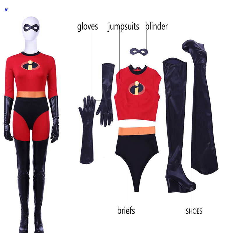 New Arrival The Incredibles Elastigirl Cosplay Costume Spandex Superhero Costume Halloween Outfit Jumpsuits Shoes