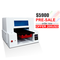 Automatic A3+ DTG 4060(400*600mm) flatbed printer with 2 printhead textile printer for white and dard color t shirt printer