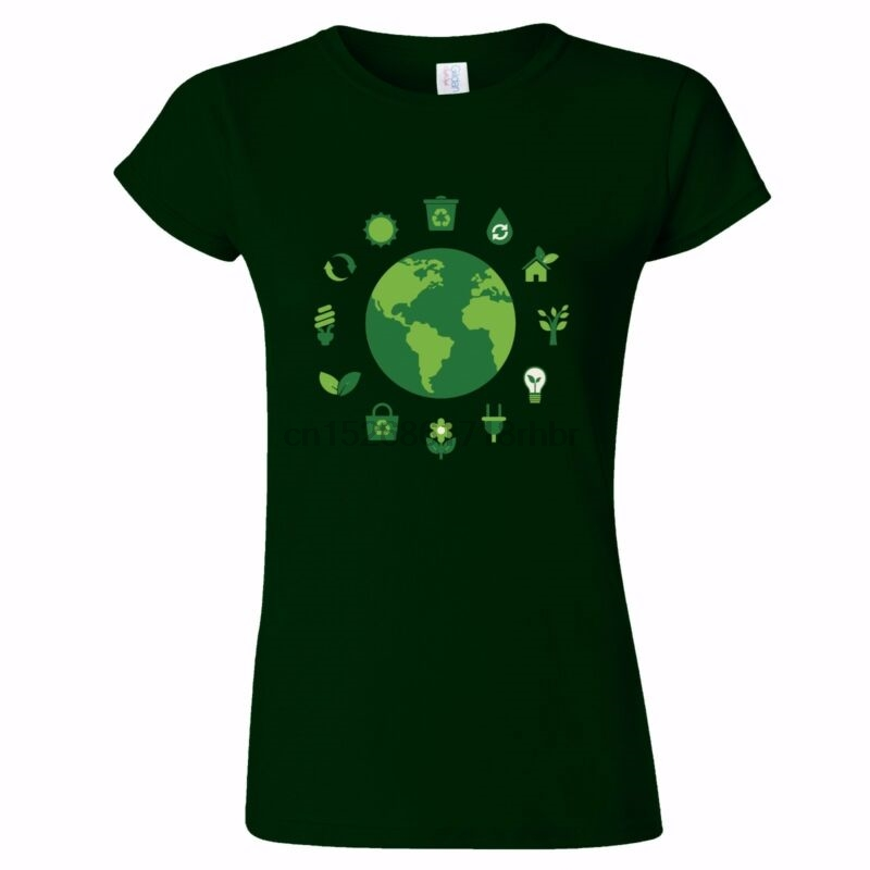 ECO WORLD DESIGN WOMENS T SHIRT RECYCLE CARBON FOOTPRINT ORGANIC GREEN VEGGIE