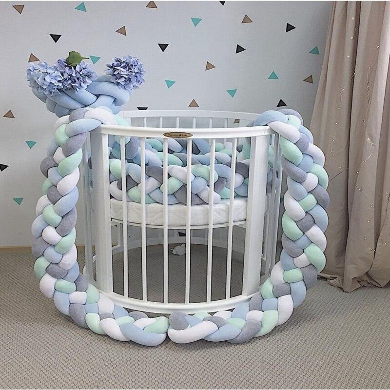 2.2 M longueur bébé fait à la main noeud nodique nouveau-né lit pare-chocs Long noué tresse oreiller bébé lit pare-chocs noeud berceau infantile chambre décor