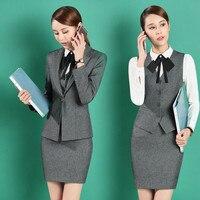 Women's long sleeved solid color suit skirt women's formal professional wear women's suit two piece suit (jacket + skirt)