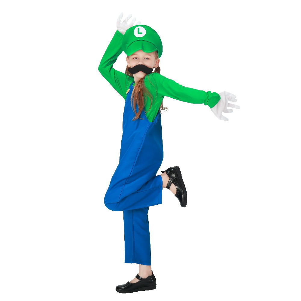 Child Super Mario Plumber Cosplay Fantasias Costume Boys and Girls Mario and Luigi Brother Themed Party Halloween Fancy Dress Up