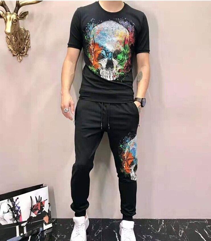 Erkek Kıyafeti'ten Erkek Setleri'de Erkek Spor Eşofman Yaz Rahat Sporting Erkek 2 Parçalı Set Elmas taş tasarım'da  Grup 1