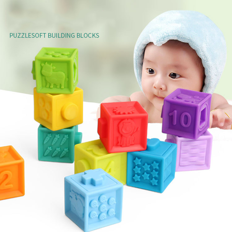 10pcs/set Baby Grasp Toy Building Blocks 3D Touch Hand Soft Balls Baby Massage Rubber Teethers Squeeze Toy Bath Ball Toys