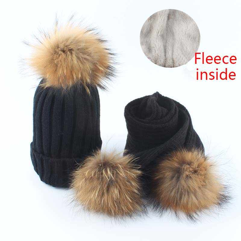 kids fleece inside beanie knitted hat scarf 2 pieces set baby winter hats for children real fur pom pom hat girls boys
