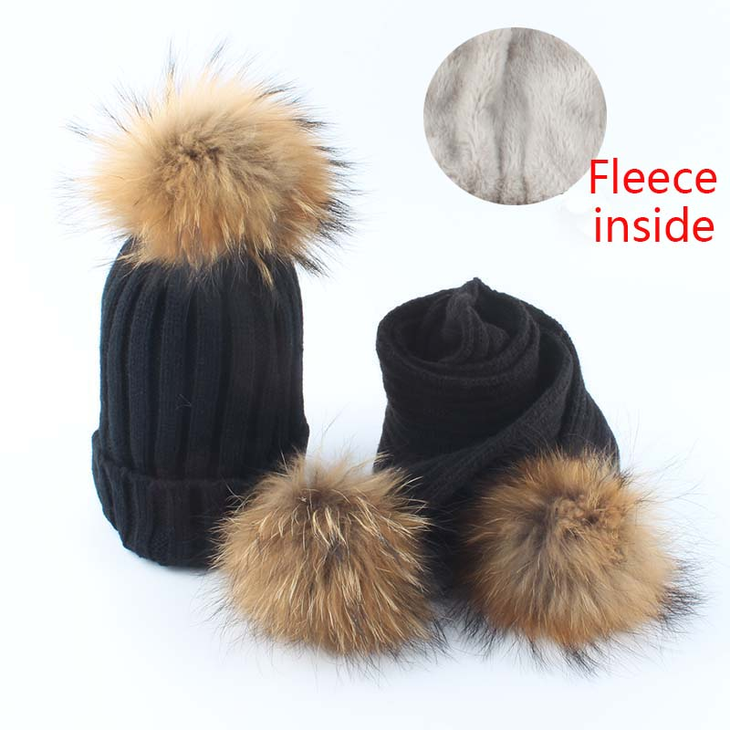 Youngsters Fleece Inside Beanie Knitted Hat Scarf 2 Items Set Child Winter Hats For Kids Actual Fur Pom Pom Hat Women Boys