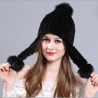 Mink Hair Women Knitted Bomber Hats Fur Top Fashion Thick Female Cap Autumn Winter Korea Warm Thermal Chic Hat Trendy MZ040