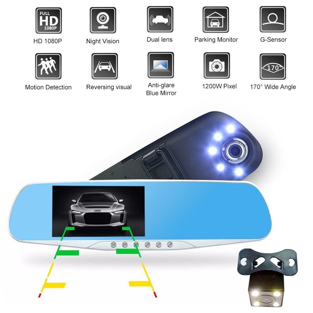 4 3 inch high definition car dashcam video recorder night vision dual lens hd dvr camera 1080p. Black Bedroom Furniture Sets. Home Design Ideas